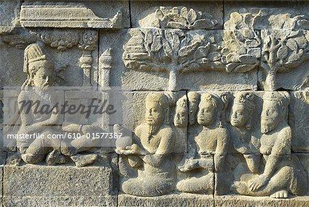 Indonesia, Java, Borobudur Temple, architecture detail