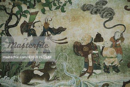 China, Tibet, Lhasa, Norbulingka Palace, wall painting
