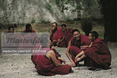 Tibet, Sera Monastery, monks in the debate courtyard
