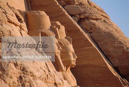 Egypt, Abu Simbel, temple of Ramesses II, statues of Ramesses in profile