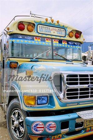 Guatemala, Antigua, painted bus