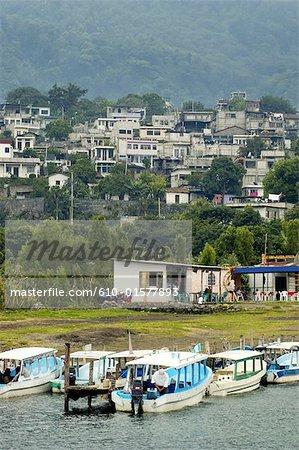 Guatemala, Santiago Atitlan, city view from the lake Atitlan