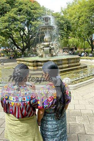 Guatemala, Antigua, Plaza Mayor, fountain