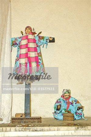 Guatemala, Santiago Atitlan, church, holy statuettes