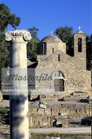 Cyprus, Paphos, church of Panayia Chrysopolitissa and ruins of a basilica, column
