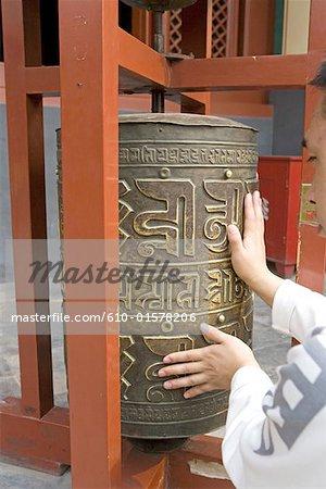 China, Beijing, Lama temple, prayer wheel