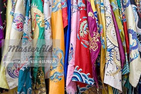 China, Beijing, Panjiayuan market, multicoloured headscarfs for sale