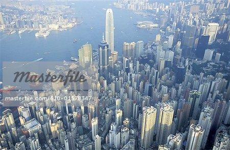 China, Hong Kong, aerial view of Central District
