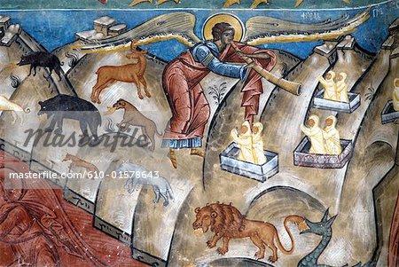 Romania, Moldavia, province of Bukovina, church of Voronet Monastery, fresco of the Last Judgement
