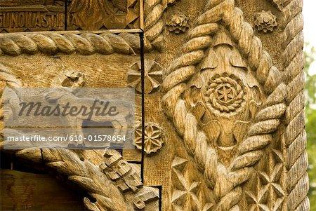 Romania, Maramures, close-up of carved door