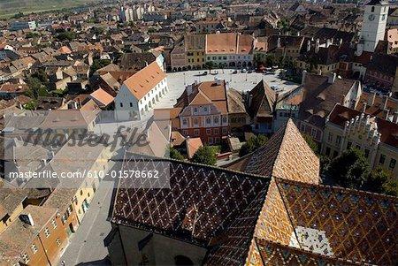 Romania, Transylvania, Sibiu, aerial view of the old city