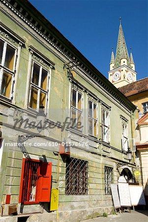 Romania, Transylvania, Medias, glimpse of the citadel church