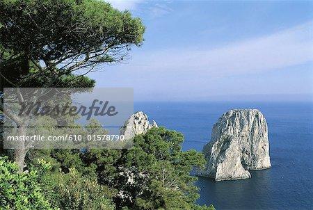 Italy, Campania, Gulf of Naples, Capri, the Faraglioni