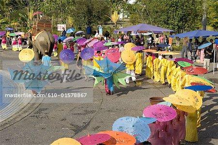 China, Yunnan, Xishuangbanna, near Jinghong, Dai Minority Park, during Water Splashing Festival