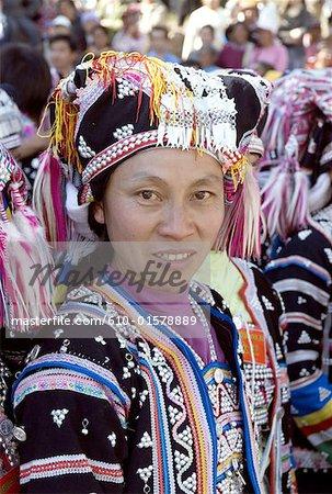 China, Yunnan, Lancang, Aini woman wearing traditional costume