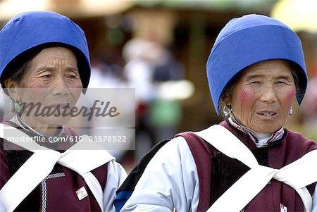 China, Yunnan, Lijiang, Naxi women portrait