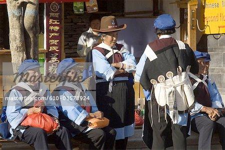 China, Yunnan, Lijiang, Naxi women