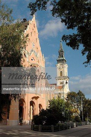 Hungary, Kecskemét, City hall and great chuch