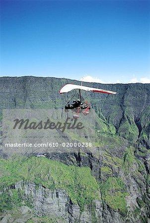 Reunion, Mafate cirque, ultralight flying
