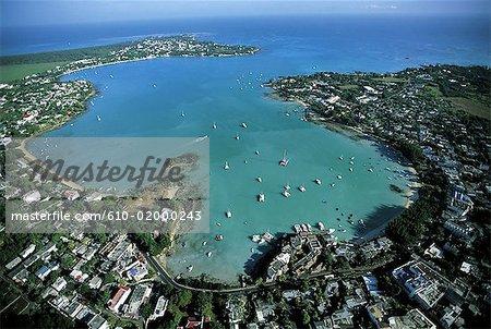 Mauritius, Grand Baie, aerial view