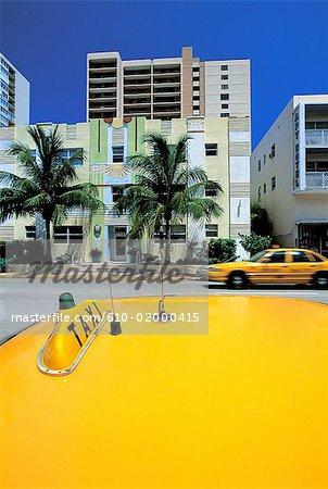 United States, Florida, Miami Beach, buildings and cab