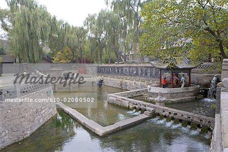 China, Shanxi province, Taiyuan, Jinci temple, river