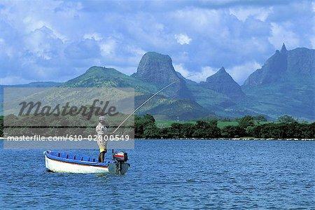 Mauritius, fisher on the lagoon