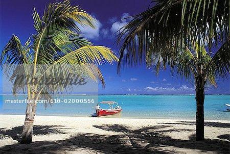 Mauritius, Morne Brabant, beach and boat