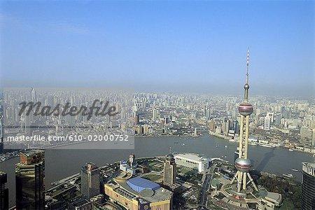 China, Shanghai, Pudong, TV Tower and Huangpu River