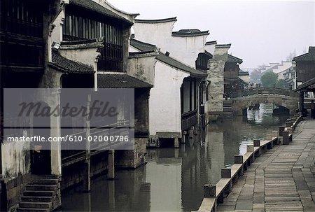 China, Jiangsu, Suzhou, ancient houses lining a canal