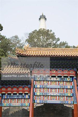 China, Beijing, Beihai Park, Jade island, entrance of the white pagoda
