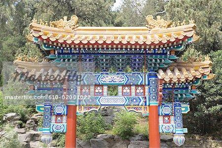 China, Beijing, Beihai Park, Jade island, white pagoda, entrance of the temple