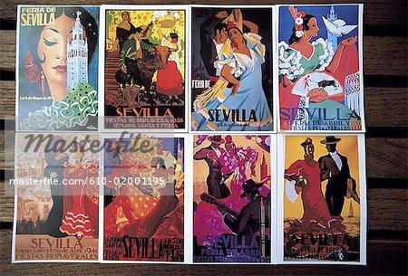 Spain, Andalusia, Seville, ancient posters announcing la feria de sevilla