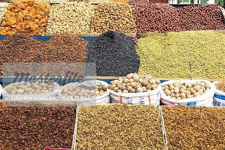 China, Xinjiang, Urumqi, bazaar, dried fruits