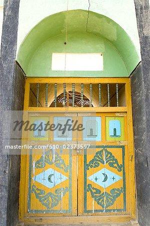 China, Xinjiang, Turpan, mosque door
