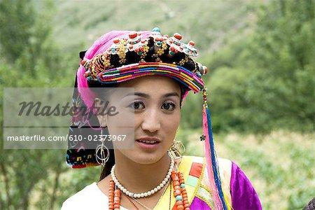China, Sichuan, portrait of a Tibetan woman