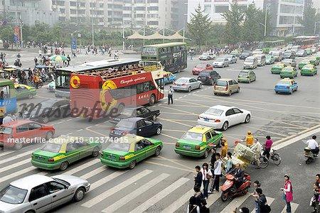 China, Sichuan, Chengdu, downtown, traffic