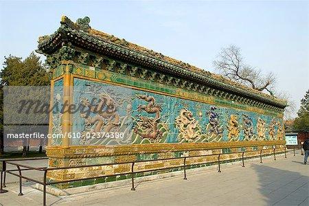 China, Beijing, Beihai park, Nine Dragons wall