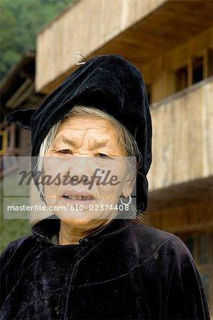 China, Guizhou, portrait of an old Miao woman