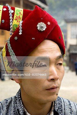 China, Guizhou, Zhaoxing village, portrait of a Dong man