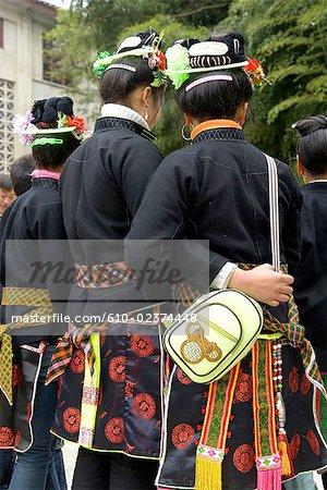 China, Guizhou, Taojiang village, Miao traditional costume