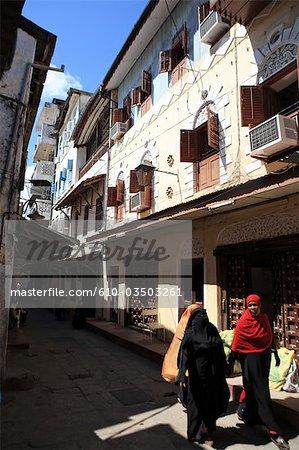 Tanzania, Zanzibar (Unguja island), Zanzibar city, veiled woman in a street of Stone Town.