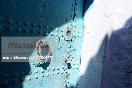 Morocco, Chefchaouen, medina, detail of a door