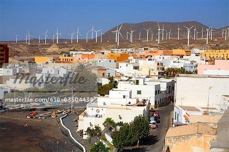 Spain, Canary islands, Tenerife, Poris de Abona and wind machines