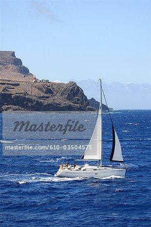 Spain, canary islands, Gomera, San Sebastian, sailing boat