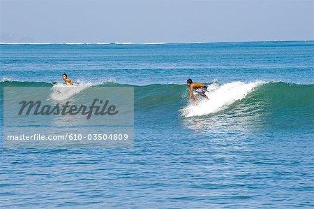 Indonesia, Bali, beach of Kuta, surfers