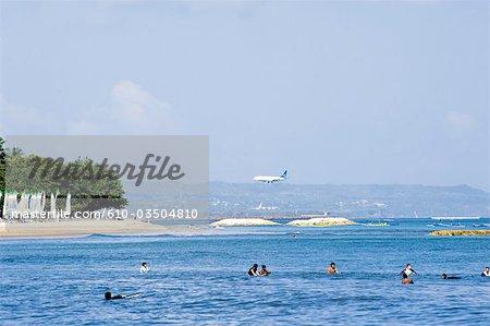 Indonesia, Bali, beach of Kuta, plane landing