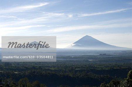 Indonesia, Bali, mount Batur and mount Agung