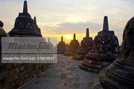 Indonesia, Java, Borobudur temple, stupas
