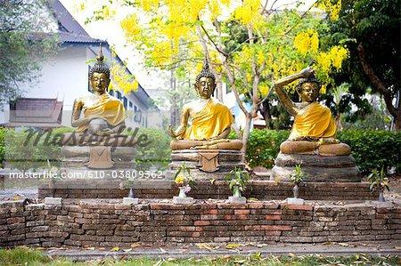 Thailand, Chiang Mai, Wat Jet Yot temple, statues